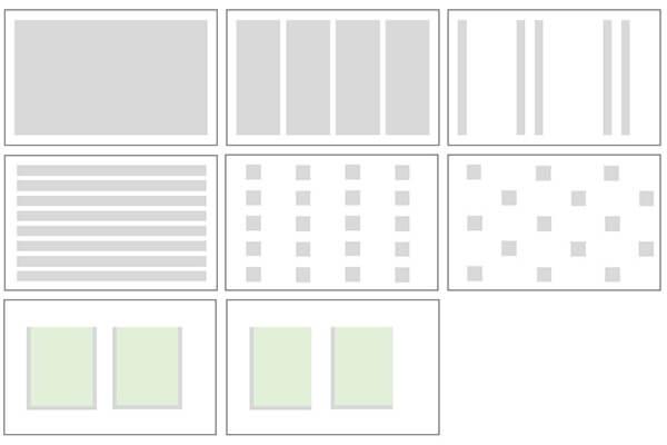 Beispiele von Beschichtungsauftragsmustern